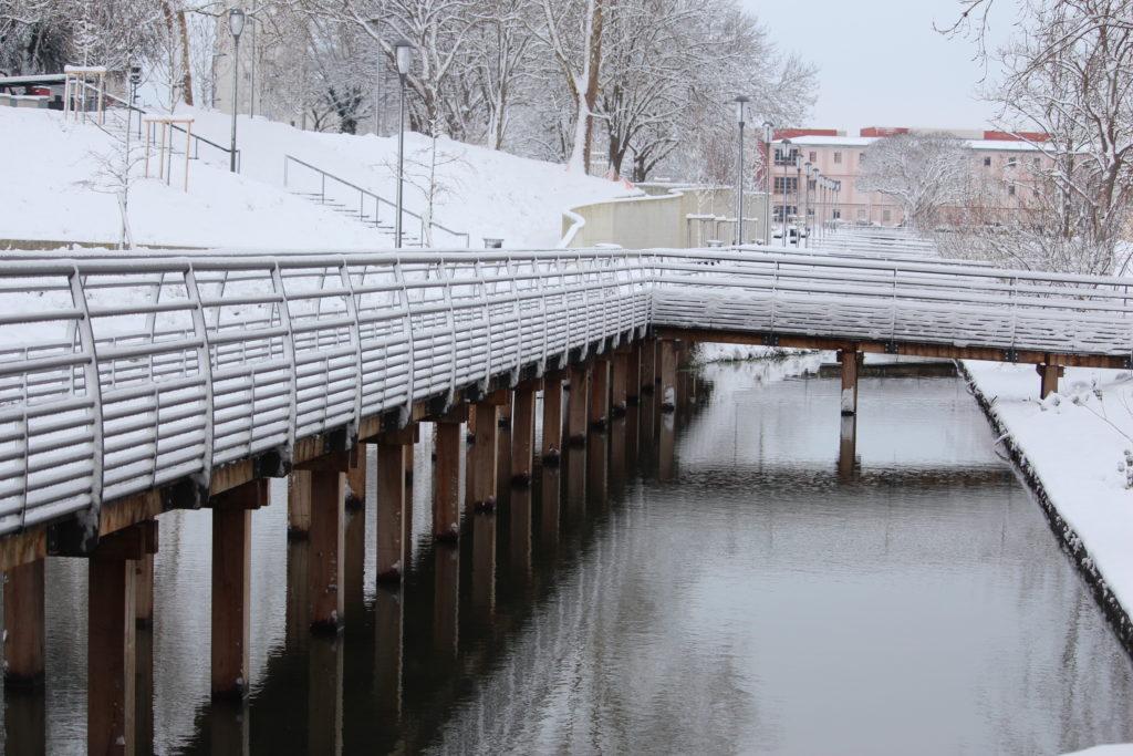 Les Mureaux Parc Moliere sous la neige